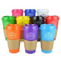Cafe 500Ml Plastic Single Walled Take Out Style Coffee Mug