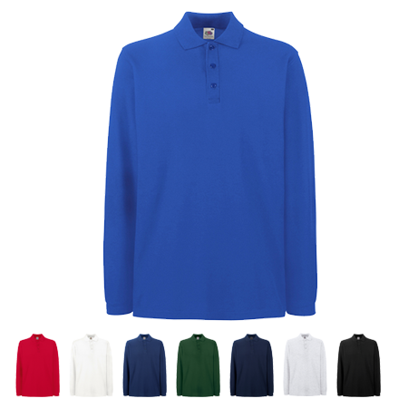 Personalised Premium Long Sleeve Pique Polo Shirts